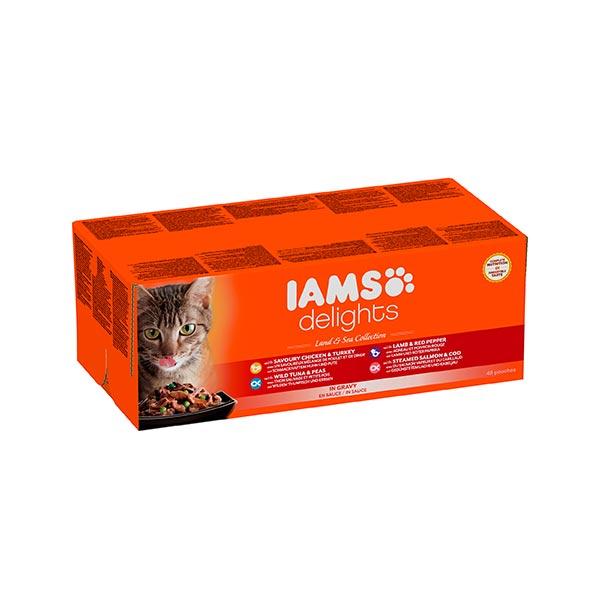 Iams Cat Delights land&sea multipack szószban 48x85gr  -hellodog-kutyatapok-eu